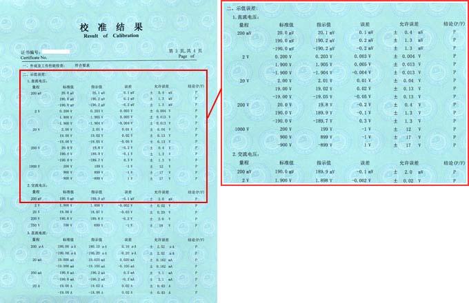 数字多用表校准证书结果页图片